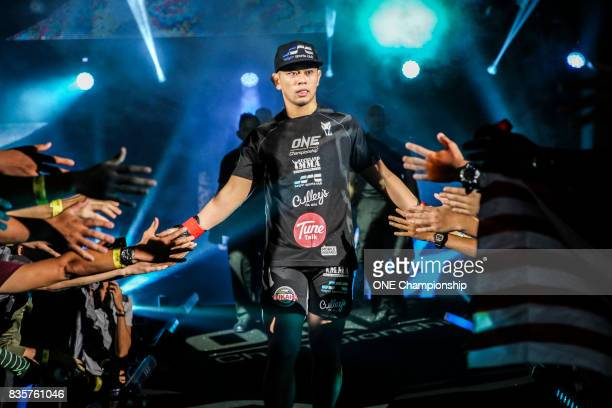 Ev Ting walks out for his bout against Nobutatsu Suzuki during ONE Championship Quest For Greatness at the Stadium Negara on August 18 2017 in Kuala...
