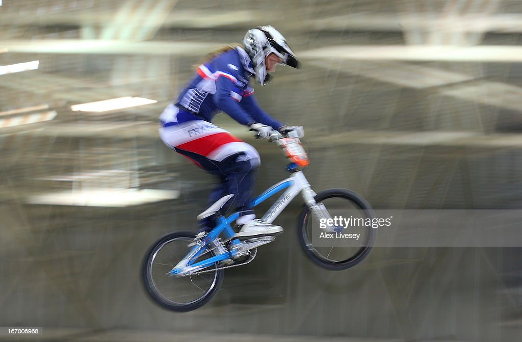Eva Ailloud of France takes the first jump during the Women's Elite Time trials Superfinal in the UCI BMX Supercross World Cup at National Cycling Centre on April 19, 2013 in Manchester, England.