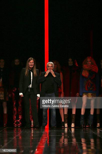 Eva and Roberto Cavalli acknowledge the applause of the audience after the Just Cavalli fashion show during Milan Fashion Week Womenswear Fall/Winter...