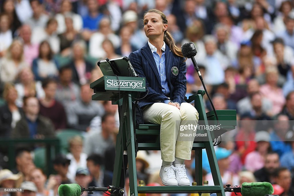 Eva Asderaki-Moore watches on during the Men's Singles first round match between Roger Federer of Switzerland and Giodo Pella of Argentina on day one of the Wimbledon Lawn Tennis Championships at the All England Lawn Tennis and Croquet Club on June 27th, 2016 in London, England.