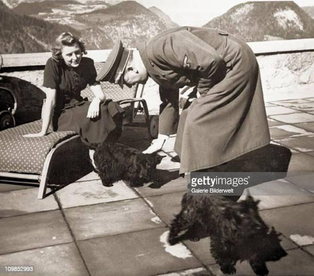 Eva Braun and Adolf Hitler with Braun's Scottish terriers Negus and Katuschka at Berchtesgaden Germany 1942 Katuschka was also nicknamed Stasi Eva...