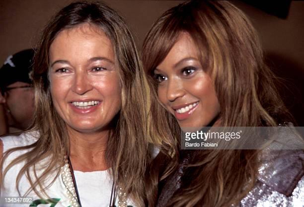 Eva Cavalli and Beyonce during Roberto Cavalli Fashion Show Backstage April 10 2003 at Pzza Sempione Arco della Pace in Milan Italy