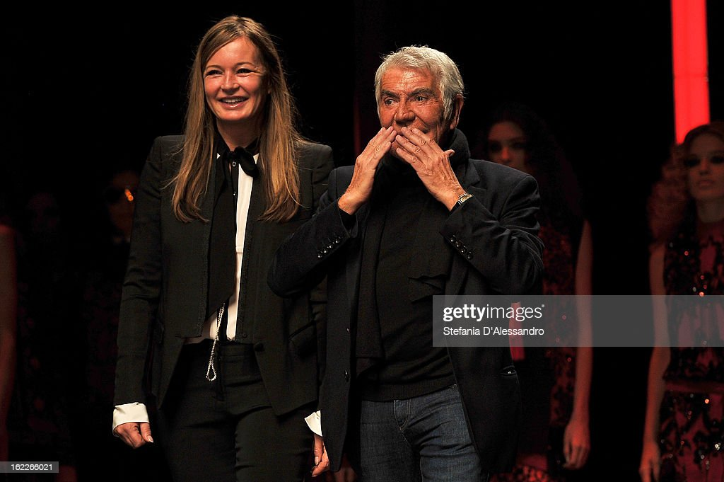 <a gi-track='captionPersonalityLinkClicked' href=/galleries/search?phrase=Eva+Cavalli&family=editorial&specificpeople=1719408 ng-click='$event.stopPropagation()'>Eva Cavalli</a> and Roberto Cavalli acknowledge the applause of the audience after the Just Cavalli fashion show during Milan Fashion Week Womenswear Fall/Winter 2013/14 on February 21, 2013 in Milan, Italy.
