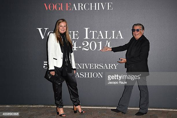 Eva Cavalli and Roberto Cavalli attend Vogue Italia 50th Anniversary during Milan Fashion Week Womenswear Spring/Summer 2015 on September 21 2014 in...