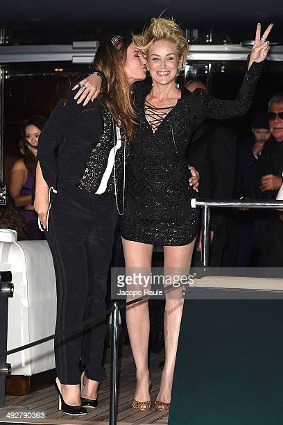 Eva Cavalli and Sharon Stone attend the 'Roberto Cavalli Annual Party Aboard' Outside Arrivals at the 67th Annual Cannes Film Festival on May 21 2014...