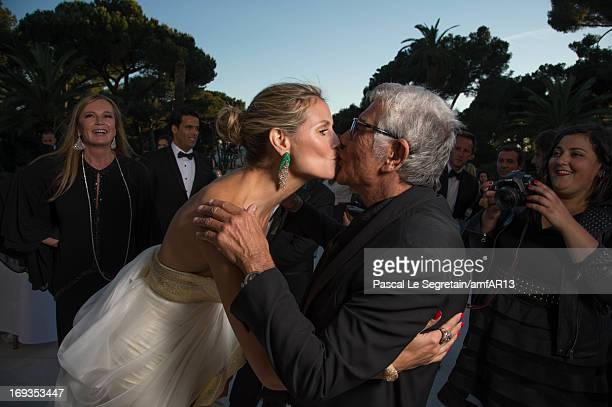 Eva Cavalli Heidi Klum and Roberto Cavalli attend amfAR's 20th Annual Cinema Against AIDS during The 66th Annual Cannes Film Festival at Hotel du...