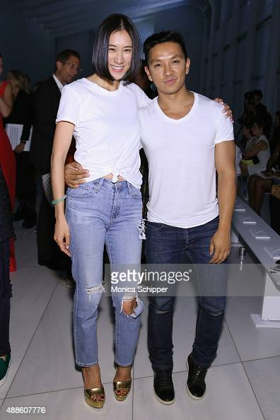 Eva Chen and designer Prabal Gurung attend DKNY Women's Spring 2016 during New York Fashion Week The Shows on September 16 2015 in New York City