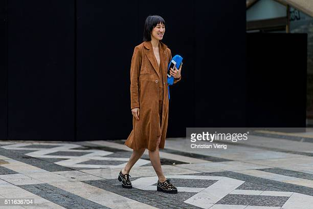 Eva Chen seen outside Mulberry during London Fashion Week Autumn/Winter 2016/17 on February 21 2016 in London England