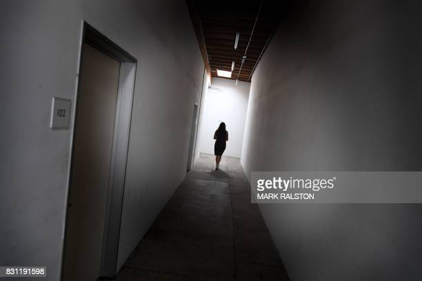 Eva Chimento who runs the Chimento Contemporary Gallery outside her premises in Boyle Heights California on July 28 2017 Trendy cafés and art...