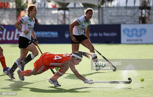 Eva de Goede of the Netherlands scores her teams fifth goal during the Hockey World League Final Pool A match between the Netherlands and Germany at...