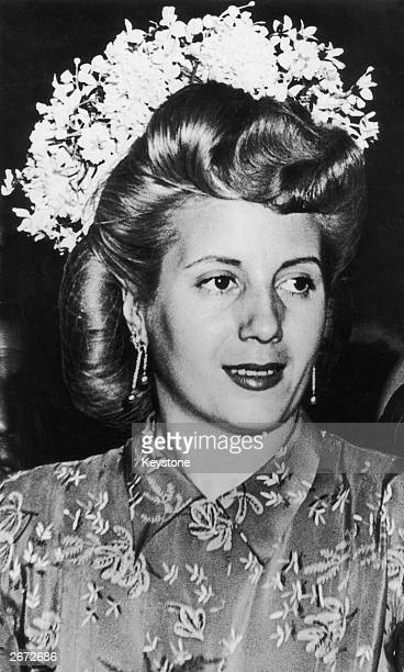 Eva Duarte De Peron known as Evita the first wife of Juan Peron during a visit to the International Commercial Exhibition in Milan