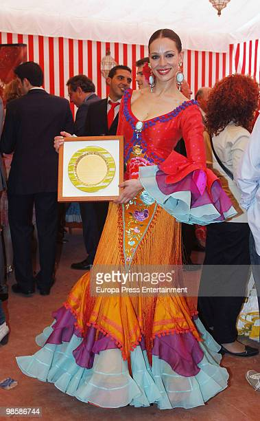 Eva Gonzalez attends the 'Feria de Abril' on April 21 2010 in Seville Spain Feria de Abril is the largest fair in the region with costumed...