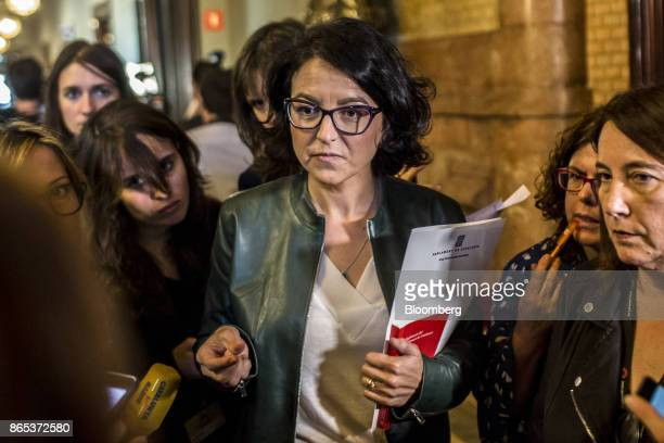 Eva Granados spokesman of Party of the Socialists of Catalonia departs from a meeting inside the Generalitat regional government offices in Barcelona...