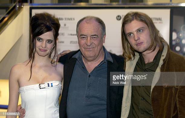 Eva Green Bernardo Bertulucci and Michael Pitt during The Times BFI London Film Festival 2003 'The Dreamers' at Odeon West End in London Great Britain