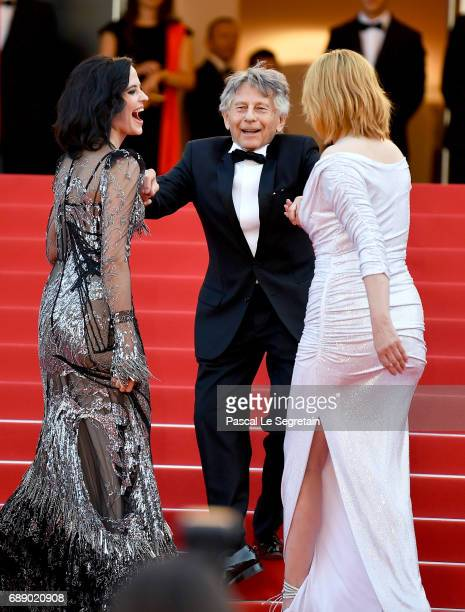Eva Green director Roman Polanski and Emmanuelle Seigner attend the 'Based On A True Story' screening during the 70th annual Cannes Film Festival at...