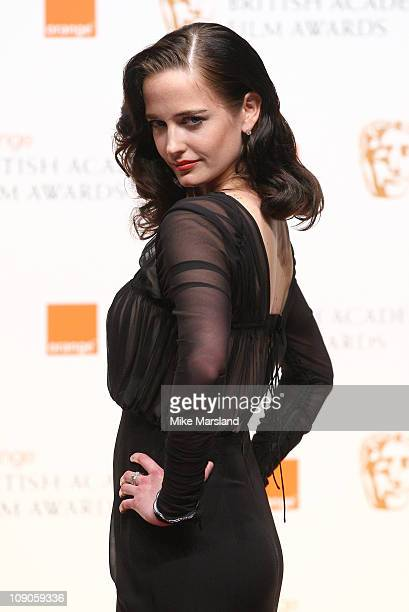 Eva Green poses in front of the winners boards at the Orange British Academy Film Awards 2011 held at The Royal Opera House on February 13 2011 in...