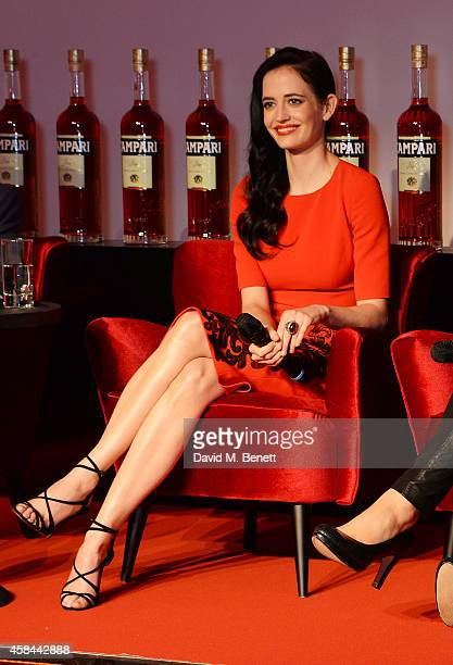 Eva Green speaks onstage as Italian drinks brand Campari launches their exclusive 2015 Campari Calendar at Shoreditch Studios on November 5 2014 in...