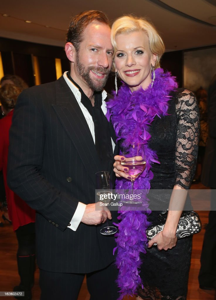 Eva Habermann and Michael Simon attend the grand opening of the Waldorf Astoria Berlin hotel on February 27, 2013 in Berlin, Germany.