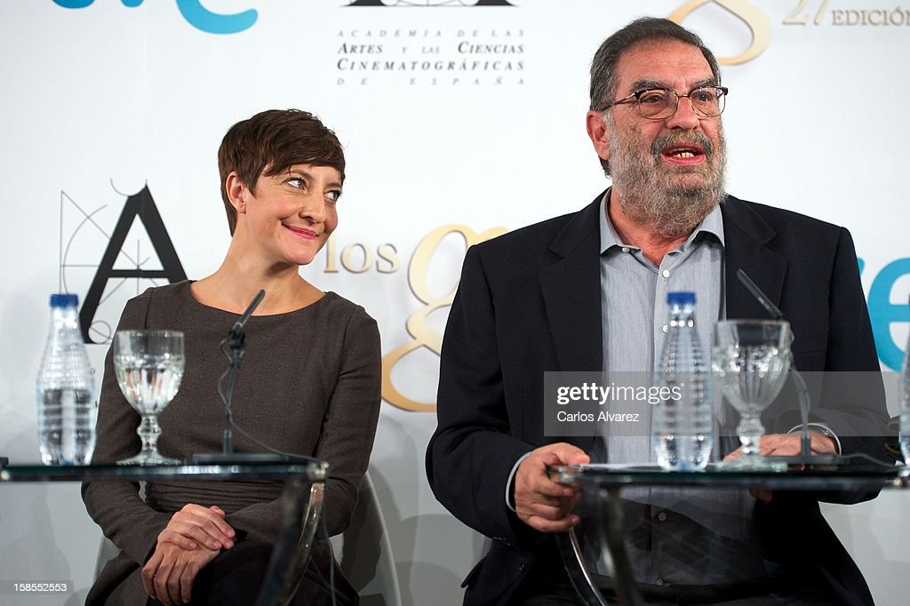 <a gi-track='captionPersonalityLinkClicked' href=/galleries/search?phrase=Eva+Hache&family=editorial&specificpeople=4686428 ng-click='$event.stopPropagation()'>Eva Hache</a> and President of Spanish Cinema Academy Enrique Gonzalez Macho attend the 'Goya Film Awards 2013' press conference on December 19, 2012 in Madrid, Spain.