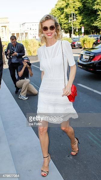 Eva Herzegova attends the Marc Cain Arrivals at MercedesBenz Fashion Week Berlin Spring/Summer 2016 on July 7 2015 in Berlin Germany
