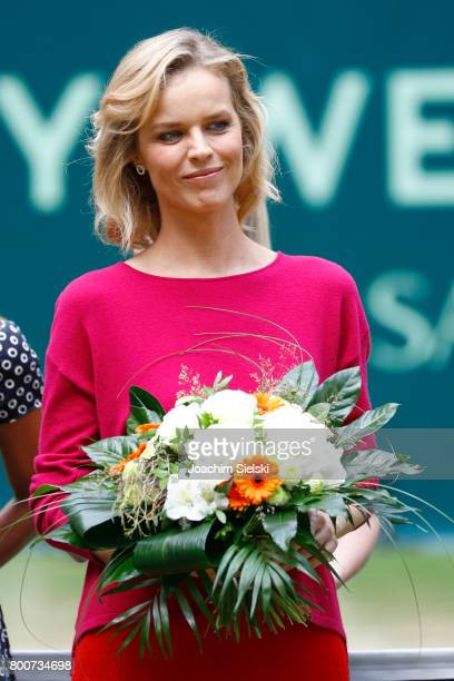 Eva Herzigova after the men's singles match Roger Federer of Suiss against Alexander Zverev of Germany on Day 9 of the Gerry Weber Open 2017 at Gerry...
