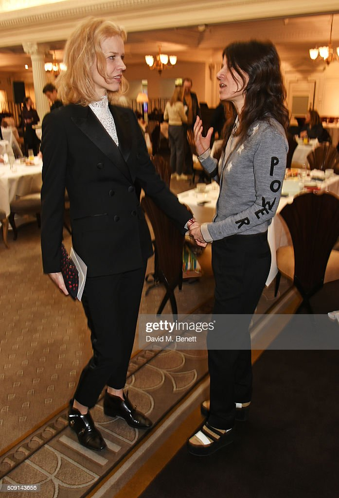 <a gi-track='captionPersonalityLinkClicked' href=/galleries/search?phrase=Eva+Herzigova&family=editorial&specificpeople=156428 ng-click='$event.stopPropagation()'>Eva Herzigova</a> (L) and Bella Freud attend the Hoping Breakfast for Palestinian refugee children at Harrods on February 9, 2016 in London, England.