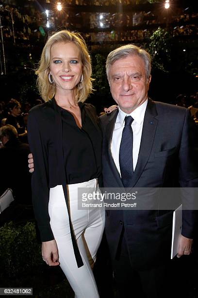 Eva Herzigova and CEO Dior Sidney Toledano attend the Christian Dior Haute Couture Spring Summer 2017 show as part of Paris Fashion Week on January...