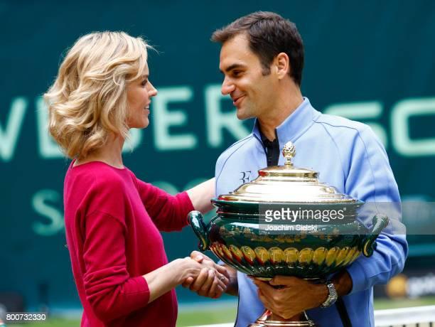 Eva Herzigova and Roger Federer after the men's singles match Roger Federer of Suiss against Alexander Zverev of Germany on Day 9 of the Gerry Weber...