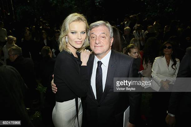Eva Herzigova and Sidney Toledano attend the Christian Dior Haute Couture Spring Summer 2017 show as part of Paris Fashion Week at Musee Rodin on...