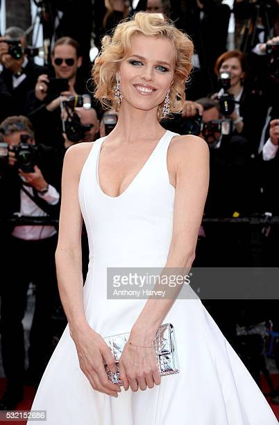 Eva Herzigova attends a screening of 'The Unknown Girl ' at the annual 69th Cannes Film Festival at Palais des Festivals on May 18 2016 in Cannes...