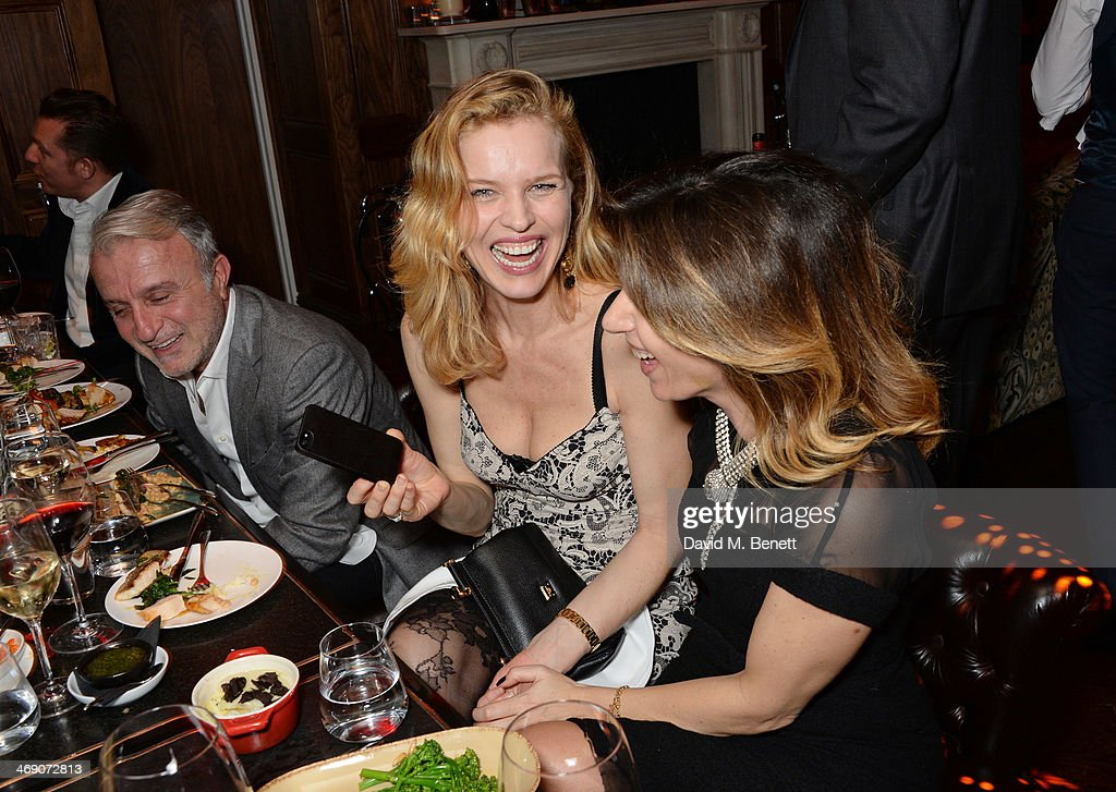 <a gi-track='captionPersonalityLinkClicked' href=/galleries/search?phrase=Eva+Herzigova&family=editorial&specificpeople=156428 ng-click='$event.stopPropagation()'>Eva Herzigova</a> (C) attends Giorgio Veroni's birthday party hosted by his wife Tamara Beckwith at The Rififi Club on February 12, 2014 in London, England.