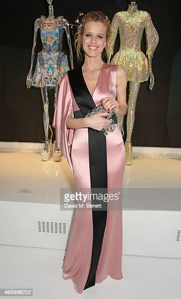 Eva Herzigova attends the Alexander McQueen Savage Beauty Fashion Gala at the VA presented by American Express and Kering on March 12 2015 in London...