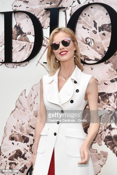 Eva Herzigova attends the Christian Dior Haute Couture Fall/Winter 20172018 show as part of Haute Couture Paris Fashion Week on July 3 2017 in Paris...