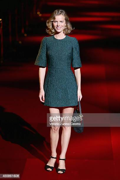 Eva Herzigova attends the Dolce Gabbana show during the Milan Fashion Week Womenswear Spring/Summer 2015 on September 21 2014 in Milan Italy