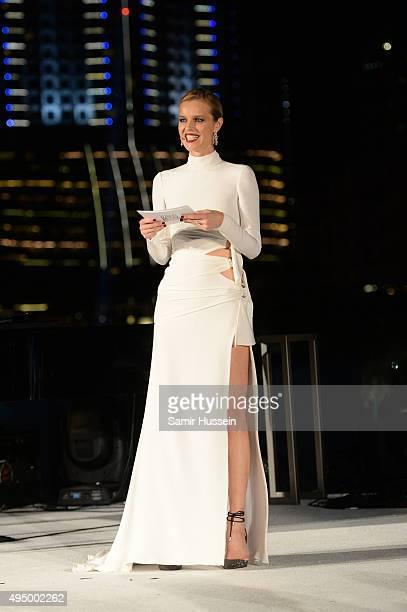 Eva Herzigova attends the Gala event during the Vogue Fashion Dubai Experience 2015 at Armani Hotel Dubai on October 30 2015 in Dubai United Arab...