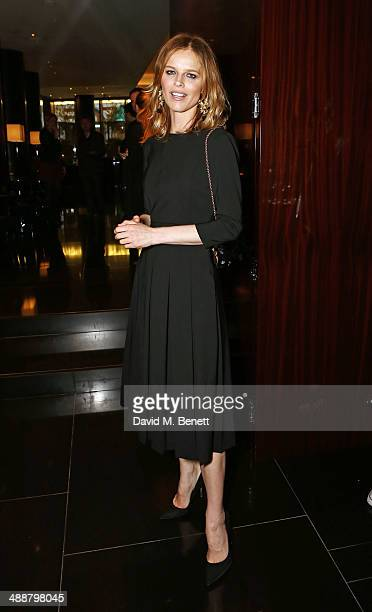 Eva Herzigova attends the launch of Alain Ducasse's Rivea restaurant at The Bulgari Hotel on May 8 2014 in London England