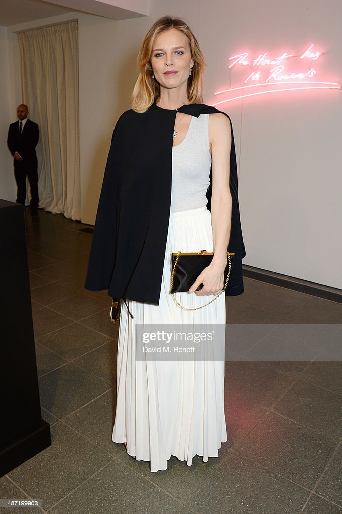 <a gi-track='captionPersonalityLinkClicked' href=/galleries/search?phrase=Eva+Herzigova&family=editorial&specificpeople=156428 ng-click='$event.stopPropagation()'>Eva Herzigova</a> attends the launch of 'Serpentine', a new fragrance by The Serpentine Gallery and fashion house Commes des Garcons featuring bottle artwork by Trace Emin, on April 28, 2014 in London, England.