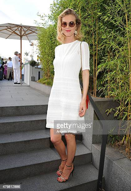 Eva Herzigova attends the Marc Cain after show cocktail during the MercedesBenz Fashion Week Berlin Spring/Summer 2016 at Hotel De Rome on July 7...
