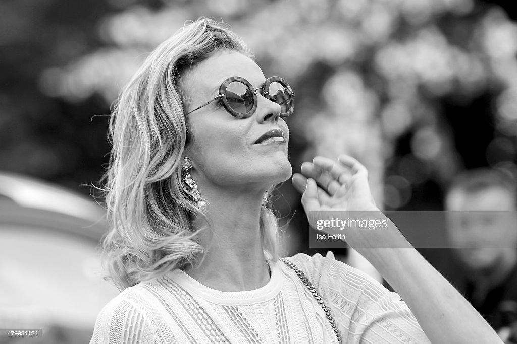 Eva Herzigova attends the Marc Cain Arrivals at Mercedes-Benz Fashion Week Berlin Spring/Summer 2016 on July 7, 2015 in Berlin, Germany.