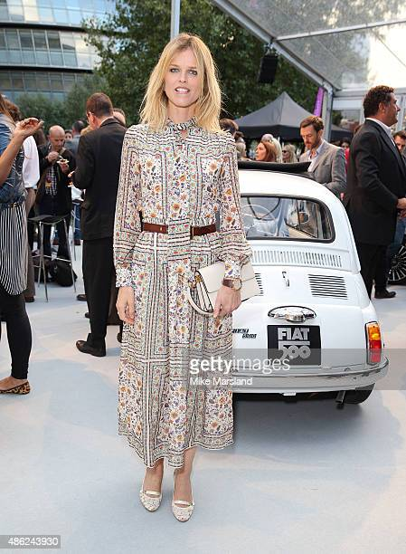 Eva Herzigova attends the New Remastered Fiat 500 launch with an exclusive performance by Ella Eyre at Potters Field Park on September 2 2015 in...