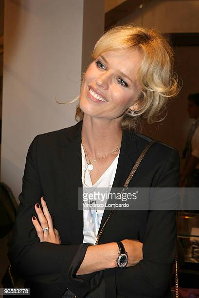 Eva Herzigova attends VOGUE Fashion's Night Out at the Dolce Gabbana boutique on September 10 2009 in Milan Italy
