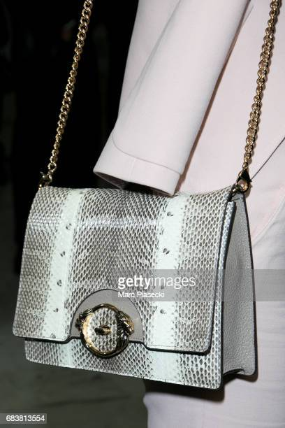Eva Herzigova handbag detail arrives at Nice airport ahead of the 70th annual Cannes Film Festival at on May 16 2017 in Cannes France