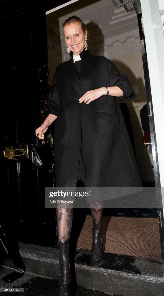 Eva Herzigova is seen leaving the Voena Gallery, Mayfair on February 6, 2014 in London, England.