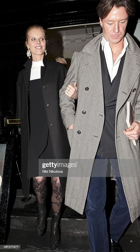 <a gi-track='captionPersonalityLinkClicked' href=/galleries/search?phrase=Eva+Herzigova&family=editorial&specificpeople=156428 ng-click='$event.stopPropagation()'>Eva Herzigova</a> is seen leaving the Voena Gallery, Mayfair on February 6, 2014 in London, England.
