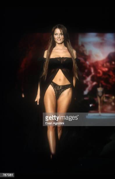 Eva Herzigova models lingerie February 3 1999 at the Victoria's Secret Fashion Show in New York City The fantasy and myth theme of this year's...