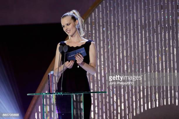Eva Herzigova presents an award during The Fashion Awards 2017 in partnership with Swarovski at Royal Albert Hall on December 4 2017 in London England