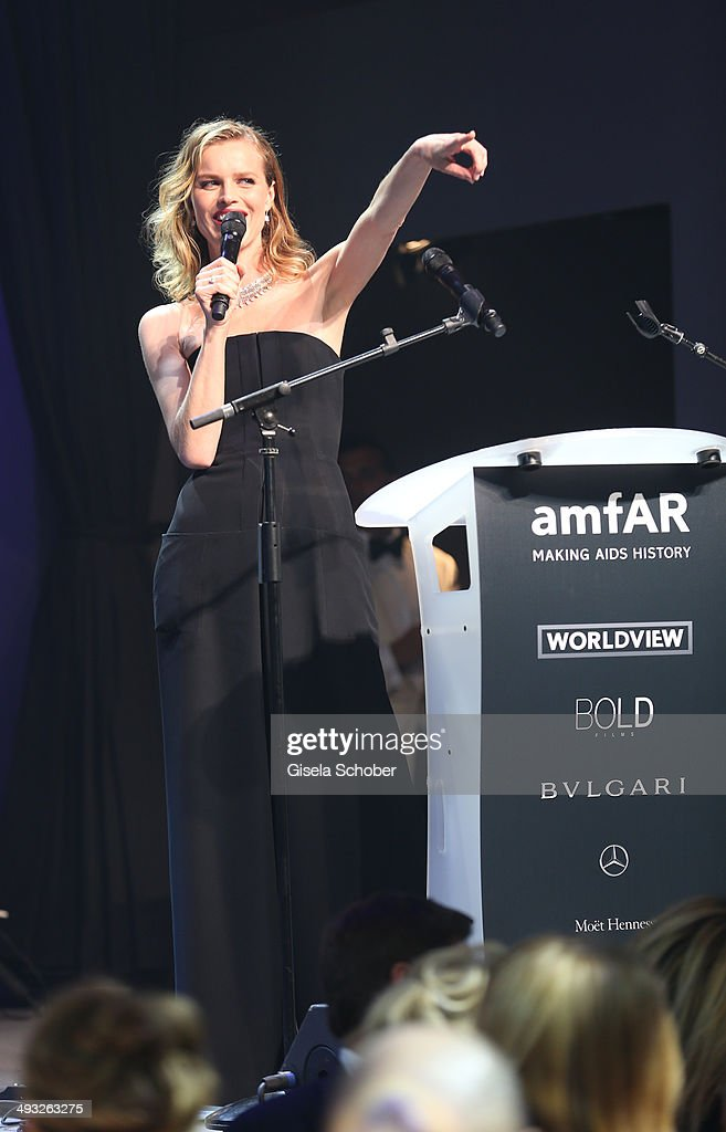 Eva Herzigova seen on stage at amfAR's 21st Cinema Against AIDS Gala Presented By WORLDVIEW, BOLD FILMS and BVLGARI at Hotel du Cap-Eden-Roc on May 22, 2014 in Cap d'Antibes, France.