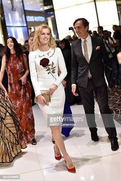 Eva Herzigova walks during the VIP Mall Tour at the Vogue Fashion Dubai Experience 2015 at The Dubai Mall on October 29 2015 in Dubai United Arab...