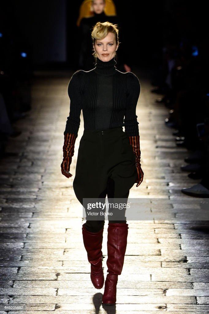 Eva Herzigova walks the runway at the Bottega Veneta show during Milan Fashion Week Fall/Winter 2017/18 on February 25, 2017 in Milan, Italy.