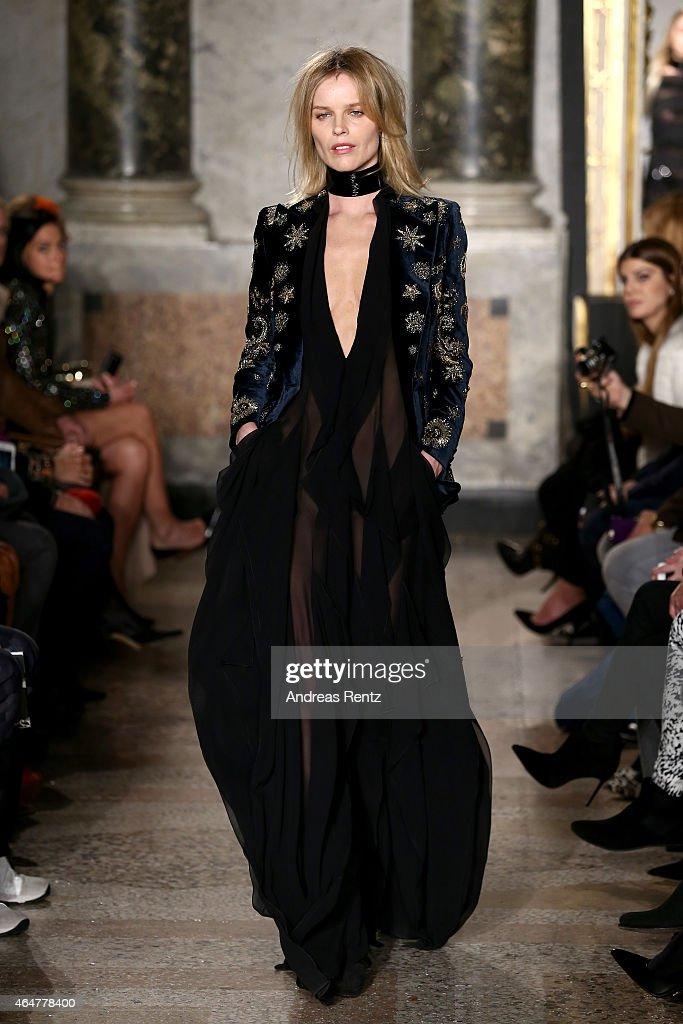Eva Herzigova walks the runway at the Emilio Pucci show during the Milan Fashion Week Autumn/Winter 2015 on February 28 2015 in Milan Italy